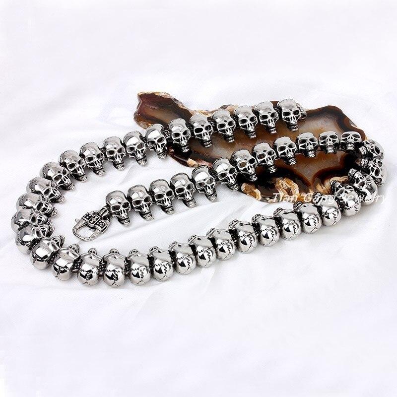 Grand crâne chaîne collier hommes en acier inoxydable squelette bijoux chaînes sur le cou rétro collier gothique hip hop punk mode