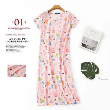 Summer Long skirt nightdress women 100% cotton plus size Short sleeve sleepshirts sleepwear sleepdress nightgowns - discount item  20% OFF Women's Sleep & Lounge