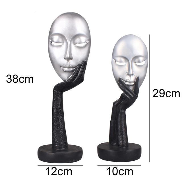 Abstract Human Face Model Statues for Decoration Resin  Sculptures Art Craft Desktop Office Home Decor Gift Character Sculpture 6