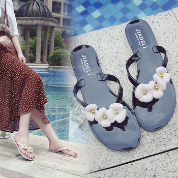 цена на 2020 Summer New Women Flowers Slippers Ladies Shoes Outdoor Flip-flops Open-toed Beach Flat Jelly Flip-flops