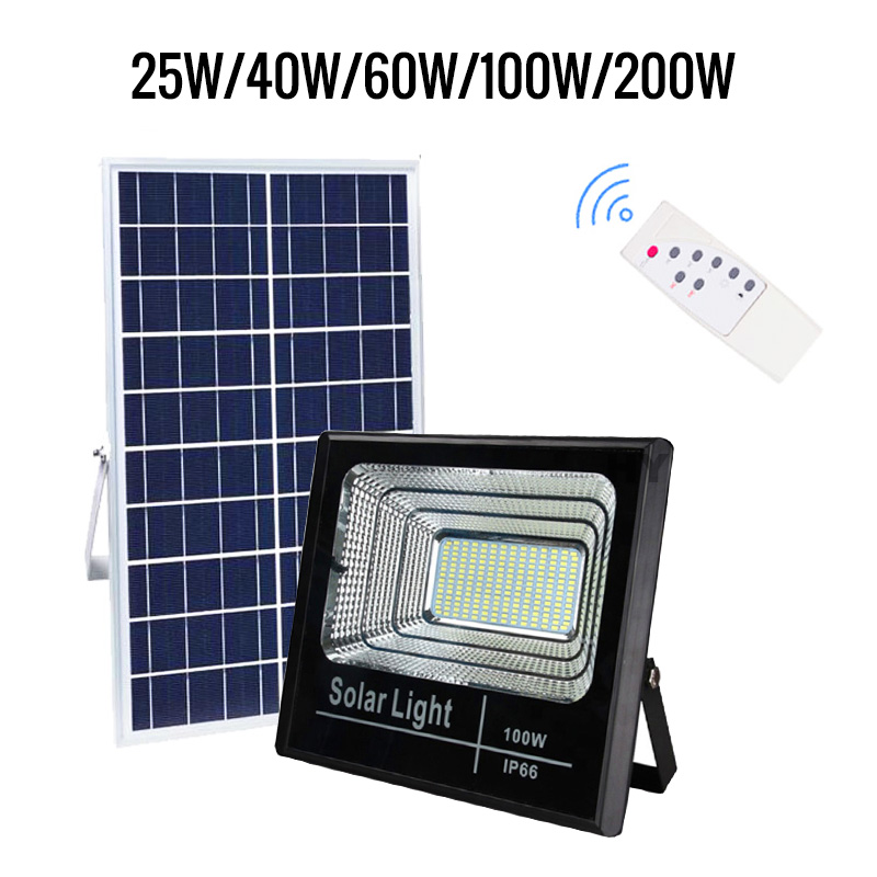 Led Solar Light 25W 40W 60W 100W Flood Light Outside Waterproof IP65 With Remote Controller Auto Light In Dark