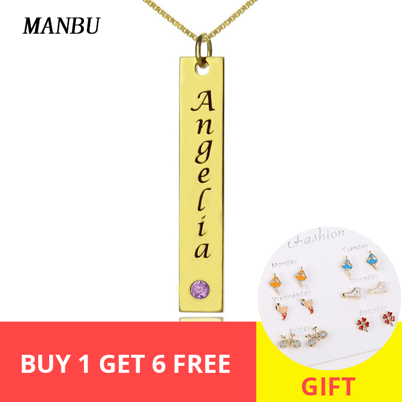 Custom Name Bar Necklaces Personalized Gold silver Color with Birthstone pendant Necklace Engraved Nameplate for women jewelry in Pendant Necklaces from Jewelry Accessories