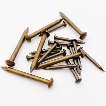 10/100 Uds latón antiguo bronce, cobre puro pequeño Mini clavo de cabeza redonda diámetro = 1,2-2,8mm de longitud = 8-50mm para bisagra de muebles de tambor