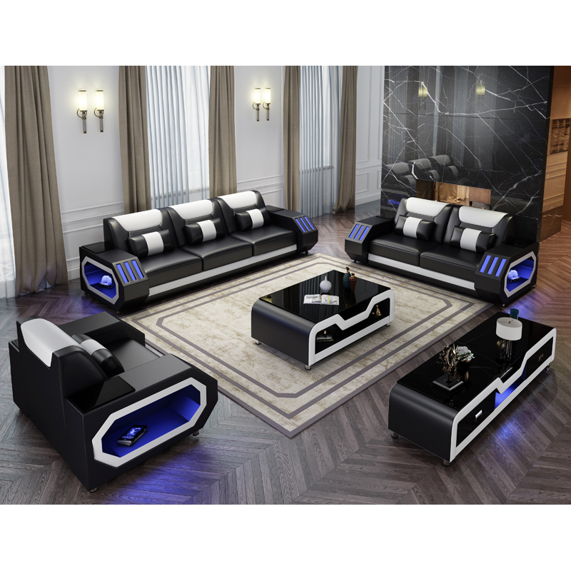 modern living room led light sofa black leather sectional couch with coffee table and tv stand