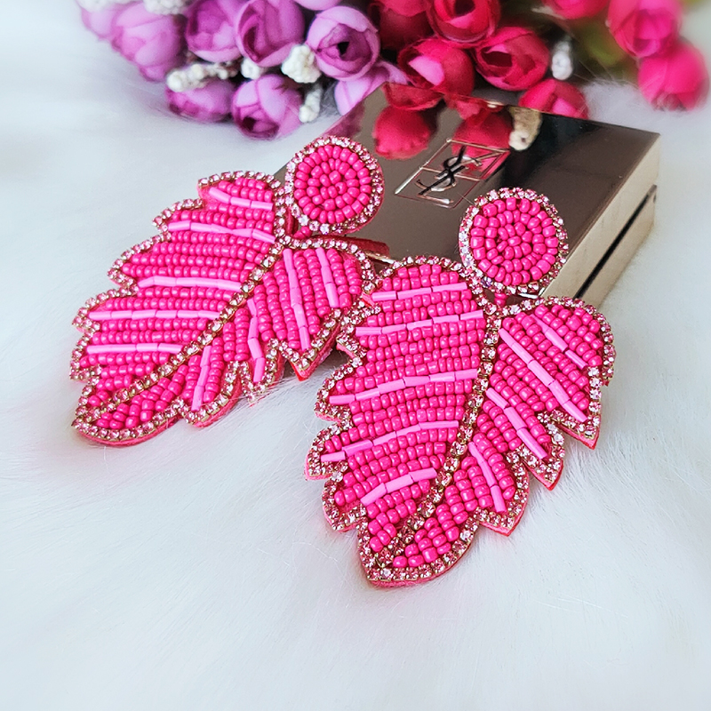 Brincos Dangle Statement Earrings Long Big Beads Leaf Drop Earrings For Women Wedding Jewelry Accessories Pendientes Gifts