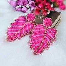 Aretes colgantes llamativos para mujer, Pendientes colgantes de hoja de Cuentas grandes y largas, accesorios de joyería de boda, regalos