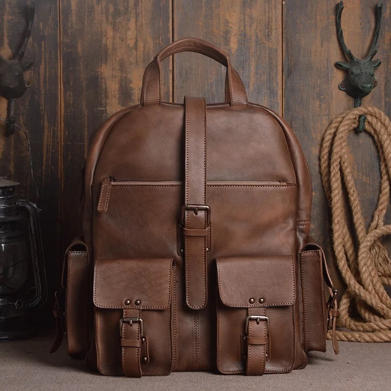 Vintage Genuine Vegetable Tanned Leather Male Computer Bag Back Pack Flap Pockets Authentic Cowskin Men's Casual Travel Backpack