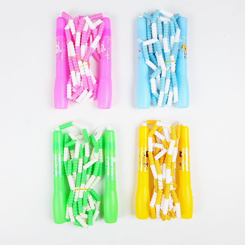 Pattern Bamboo Joint Jump Rope Cartoon Plastic Hard Beads Kindergarten Sports Exam Adjustable Jump Rope