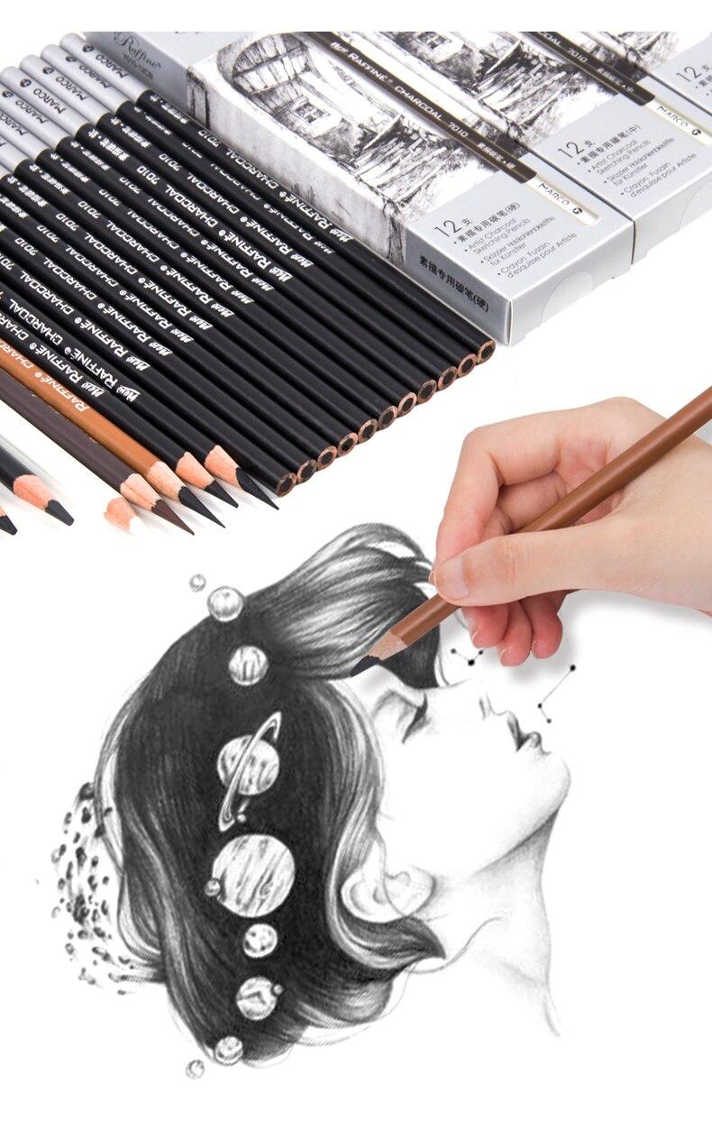 Марко Профессиональный деревянный карандаш для рисования скетчей мягкие Угольные карандаши ручка для студентов эскизы товары для рукодел...