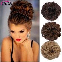 Buqi, модные женские синтетические упругие накладные шиньоны, блонд, черный, термостойкие, шиньон, аксессуары для волос