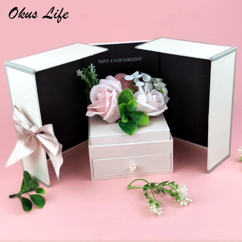 Pink Rose Necklace Lipstick Box Wedding Originality Gift Box Fashion Birthday Valentines Engagement Box Jewellery Packaging Box