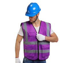 Hi Vis Purple Safety Vest Reflective With Zipper and Pockets For Men and Women