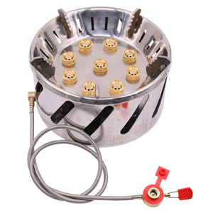 Stainless Steel 9-head Camping Stove Gas Burner Outdoor Camping Picnic Tour Portable 9 Holes Stove