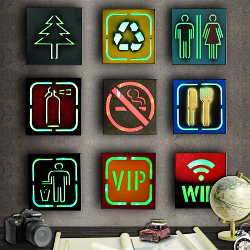 Wall Decoration led Lightbox No Smoking WC VIP LED Illuminated Neon Signs Light Wall Lamp Bar Pub Marked Light For Cafe Plaques(China)