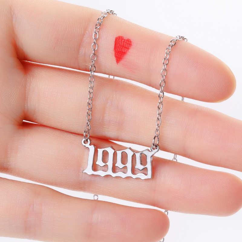 Collana con lettera numero inglese della boemia collana con catena in acciaio inossidabile per donna regalo di compleanno collane con anno di nascita femminile