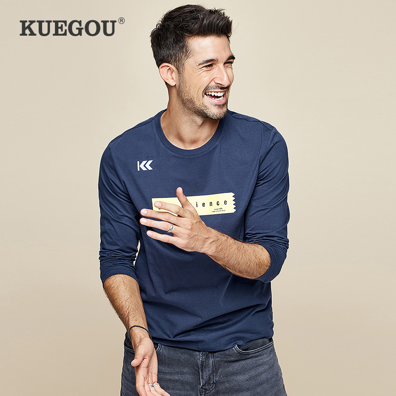 KUEGOU 2019 Autumn 100% Cotton Embroidery Print Blue T Shirt Men Tshirt Brand T-shirt Long Sleeve Tee Shirt Fashion Clothes 7744