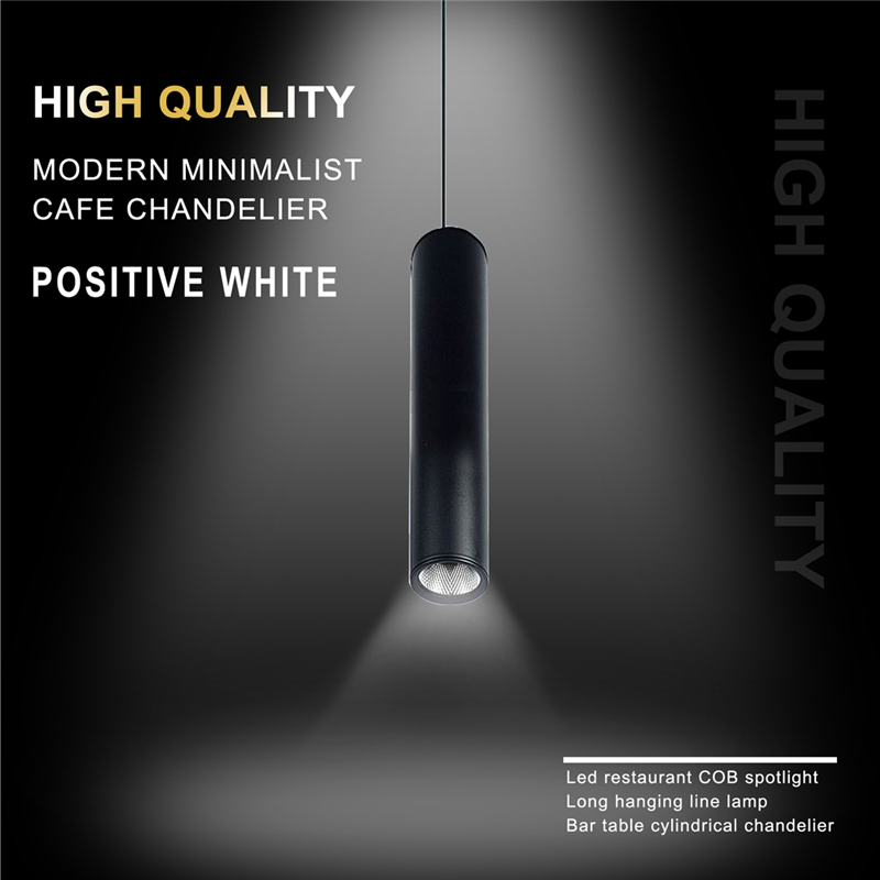 Hot Black High Quality Modern Minimalist Cafe Chandeliers Positive White Led Restaurant COB Spotlights Long Tube Hanging Lamp Ba