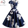 2019 herbst Frauen Blumen Druck Vintage Kleid robe femme Sommer V-ausschnitt Elegante Kurzarm Büro Party Kleider Plus Größe