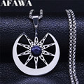 Witchcraft Ten-Pointed Star Moon Natural Stone Stainless Steel Necklaces Silver Color Women/Men Jewelry collier homme N4346S02