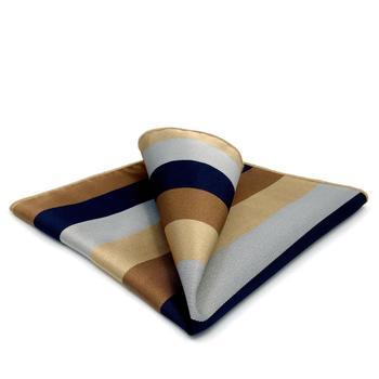 GH13 Multicolor Striped Mens Pocket Square Silk Fashion Classic Handkerchief Party Business Hanky Wedding