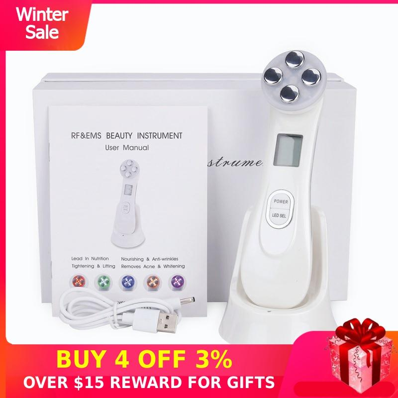RF Radio Frequency Facial LED Mesotherapy Electroporation Photon Skin Care Device Face Lifting Tighten Eye Care Micro Current P