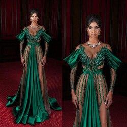 Vert foncé robes de soirée 2020 pure bijou cou haut côté fendu à manches longues sirène robe de bal dentelle appliques arabie saoudite