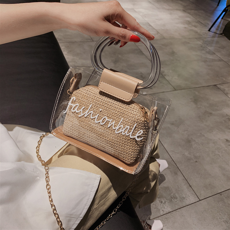 Transparent Bag Female 2020 New Wave Korean Summer Beach Messenger Bag Wild Chain Shoulder Woven Straw Fashion Handbag