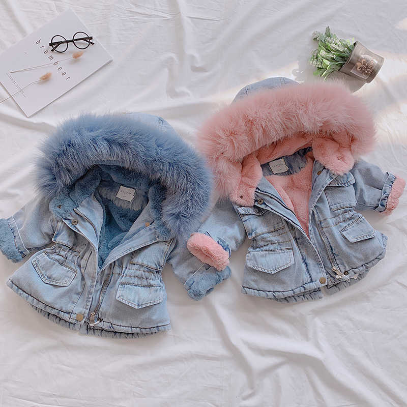 2019 Winter Girls Jackets Fur Hooded Warm Children's Denim Coats Cotton Fleece Jeans Kids Outerwear Thick Baby Snowsuits Clothes