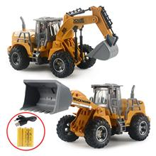 Children USB Charge Remote Control Excavator Construction Vehicle Model Toy Gift