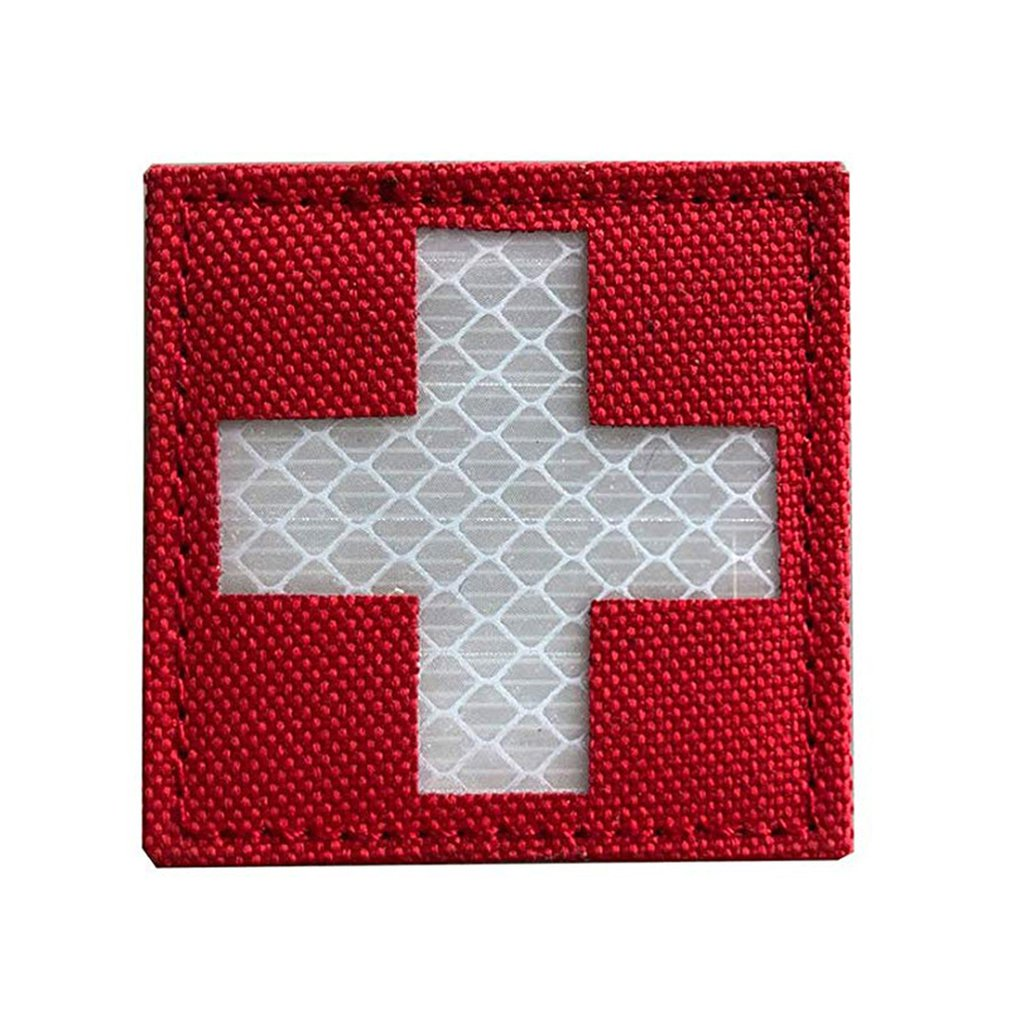 Reflective Medic Patches Tactical Medical Patches Hook-Fastener Backing Cross Medical Rescue Ir Chapter Reflective Pack