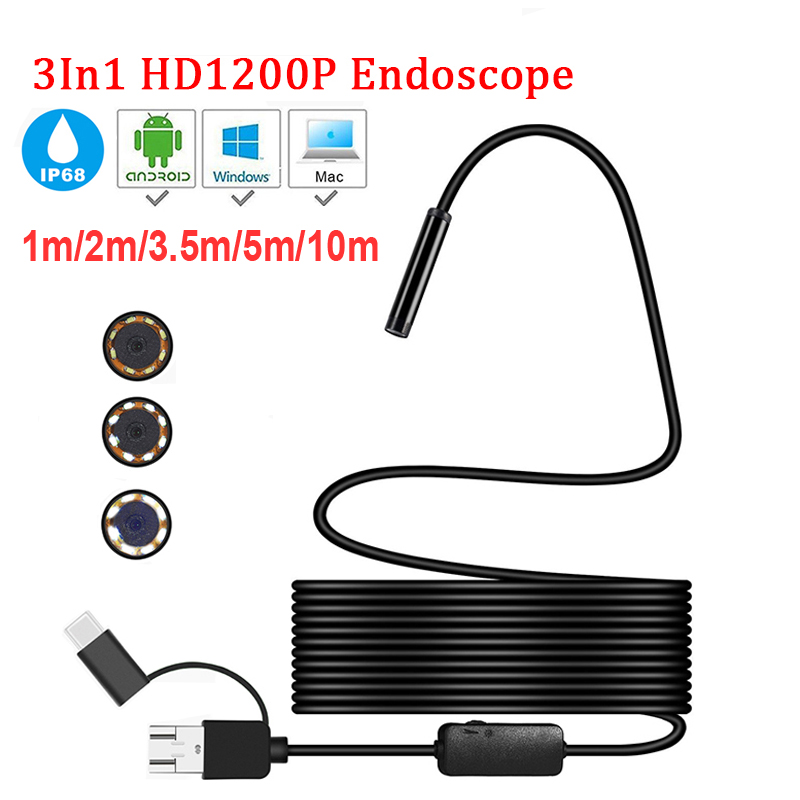 Mini Camera Endoscope HD 1200P IP68 5M Hard Flexible Tube Mirco USB Type-C Borescope Video Inspection For Android Car Endoscope