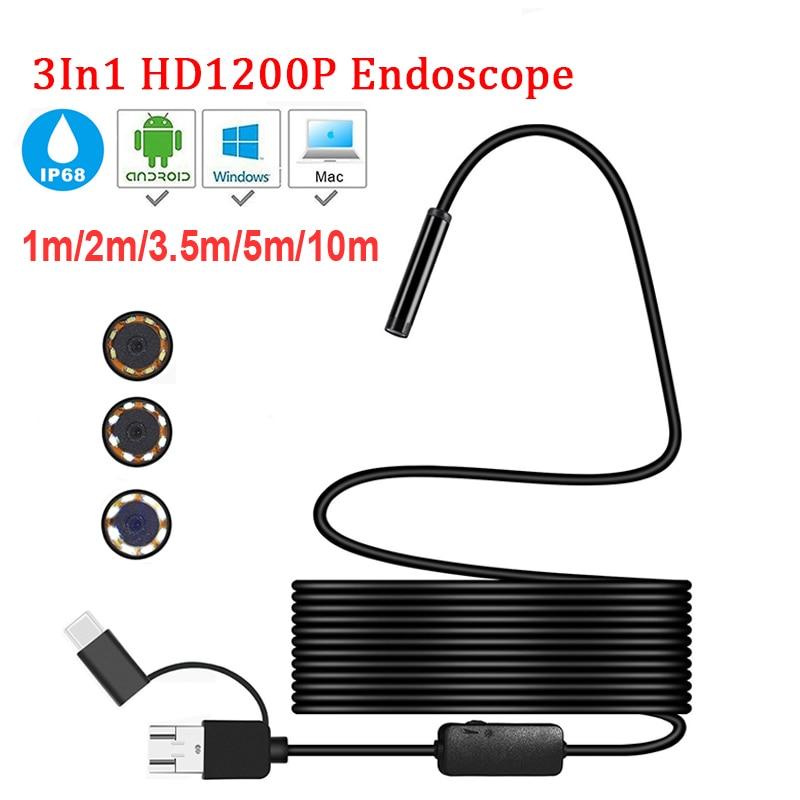 Güvenlik ve Koruma'ten Gözetim Kameraları'de Mini kamera endoskop HD 1200P IP68 5M sert esnek tüp mikro USB tip c Borescope Video muayene android için araba endoskop title=