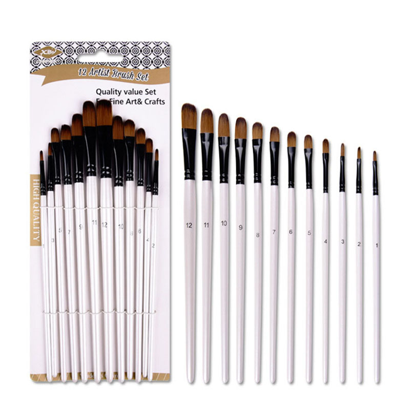 12 Pcs Pearl Bai Double Color Nylon Hair Long Birch Pole Oil Painting Pen Nail Round Watercolor Pen Affordable Set Art Supplies