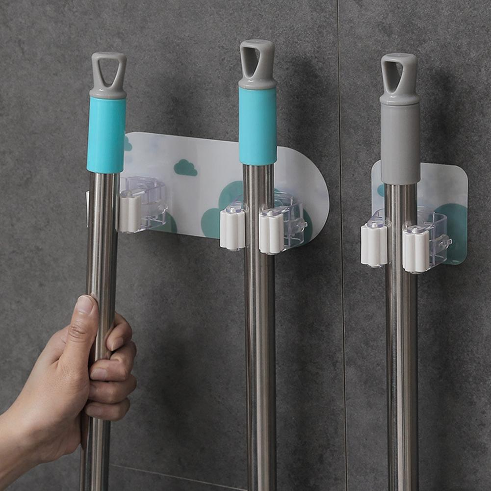 PP Wall Mounted Mop Clamps Traceless Perforating-free Broom Hooks Practical Household Strong Adsorbed Storage Mop Holder