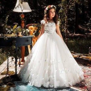 Image 2 - Flower Girl Dresses Butterfly Applique Applique Pageant Dresses For Girls First Communion Dresses Kids Prom Dresses