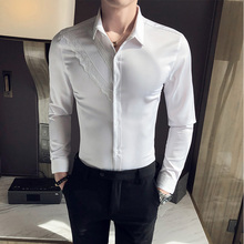 2020 New Mens Shirts Lace Long Sleeve Solid Slim Fit Shirt Men Formal Luxury Design Business casual shirts Male Dress Tops tfgs 2016 new design design summer new women shirts dress cat footprints pattern show thin shirt dress casual dresses with belt