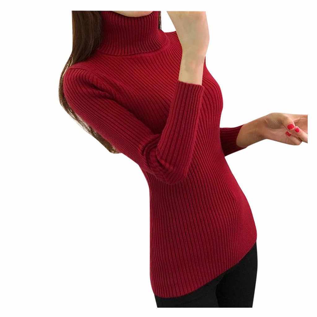 가을 겨울 여성 스웨터 슬림 소프트 긴 소매 높은 목 니트 풀오버 탑 섹시 슬림 스트레치 터틀넥 스웨터 의류