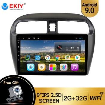 Автомобильная gps-навигация EKIY 9 на Android 9,1 для Mitsubishi mirage attrage 2012-2018 Встроенная радио видеокамера bt Wifi