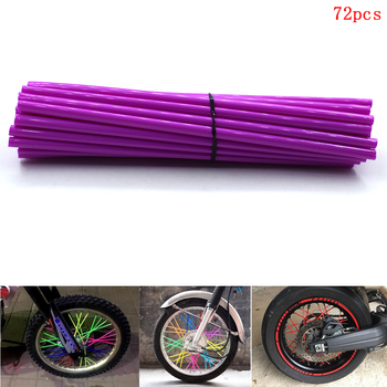 72pcs Universal Motorcycle Wheel Spoked Wraps Skins Covers Rims Guard Protector for honda CRF125F CRF150F CRF150R CRF230F CRF250 image