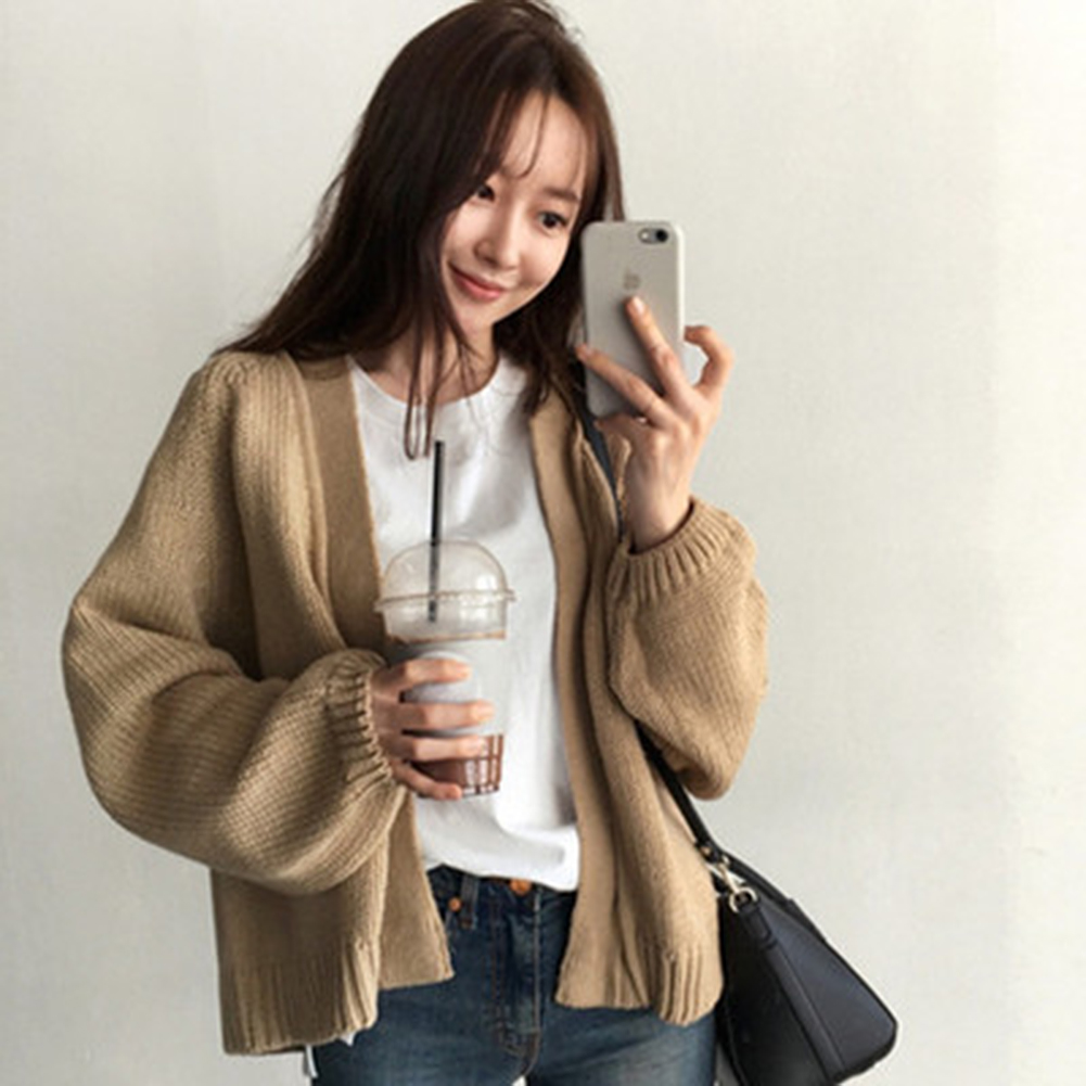 Women's Loose Sweater Women Coat Solid Knitting Outwear Casual Open Front Cardigan Casual Style Coat
