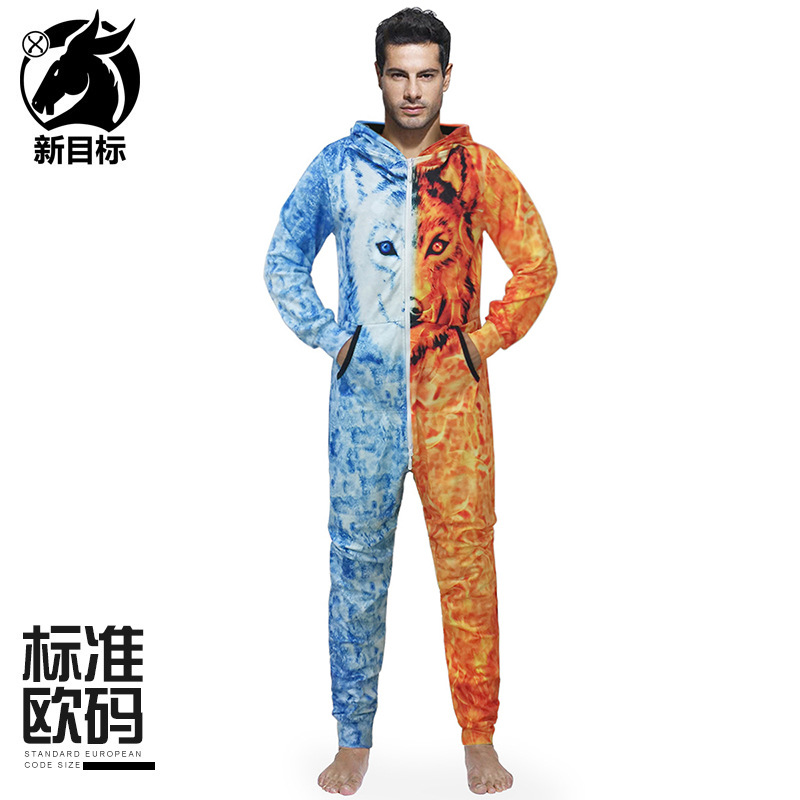 2019 осень и зима новый стиль Домашняя одежда креативный двойной цвет с принтом волка с капюшоном свободный и большой размер La