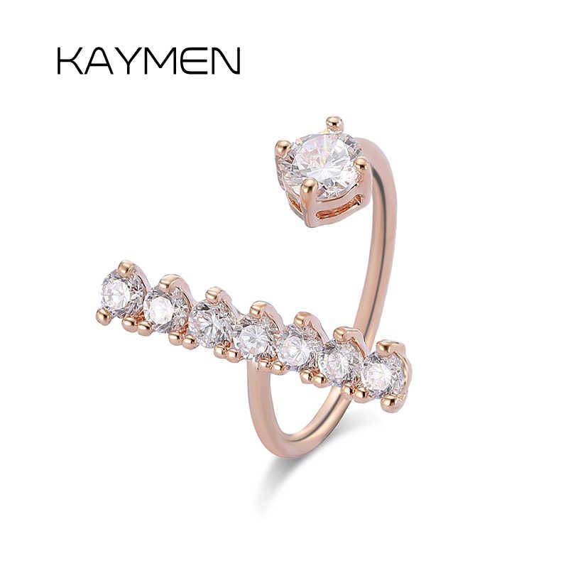 Kaymen Позолоченные T-образные кубические циркониевые регулируемые манжеты кольца для женщин и девушек, свадебные кольца, обручальные кольца 00292