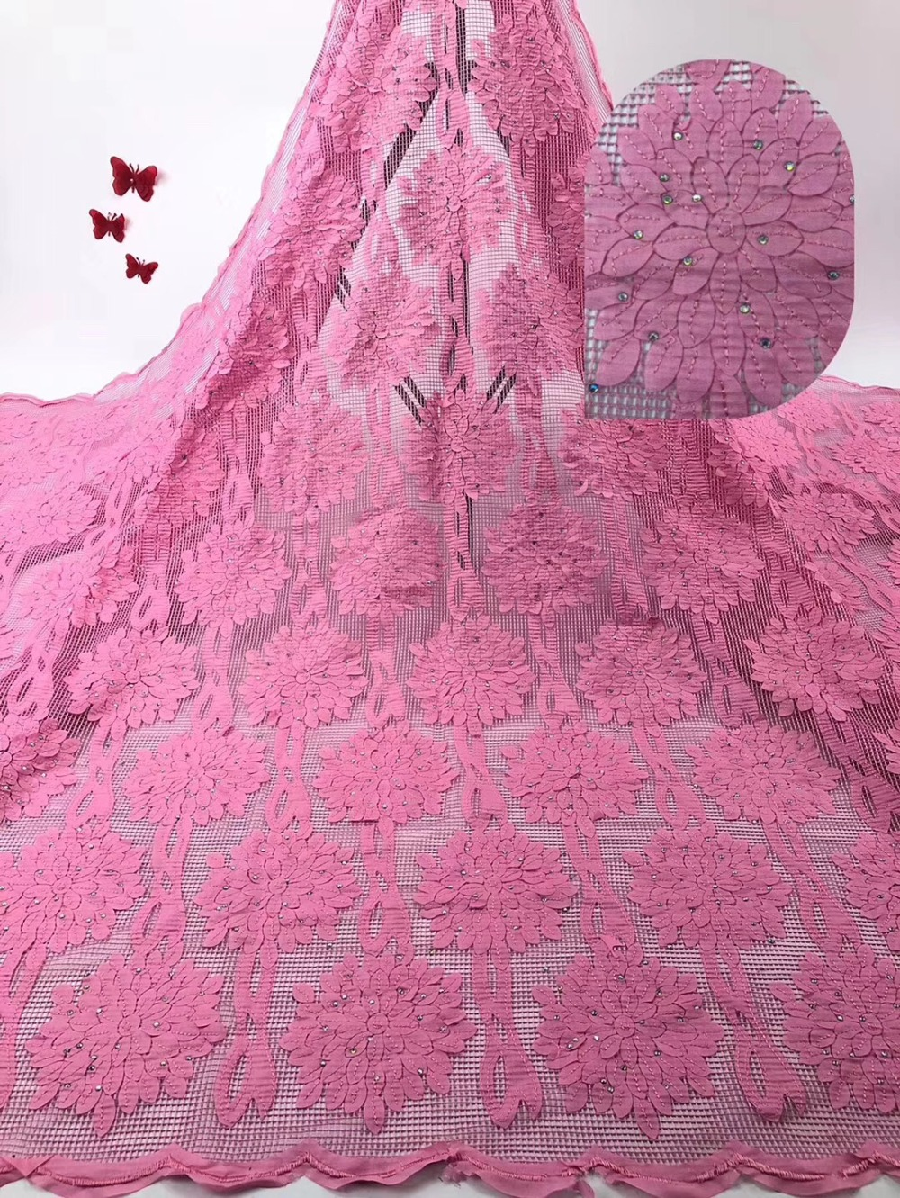 Rosa del ricamo tessuto Africano del merletto di alta qualità 2019 beautifule francese di tulle del merletto con i sequins per nigeriano del vestito delle donne-in Pizzo da Casa e giardino su  Gruppo 1