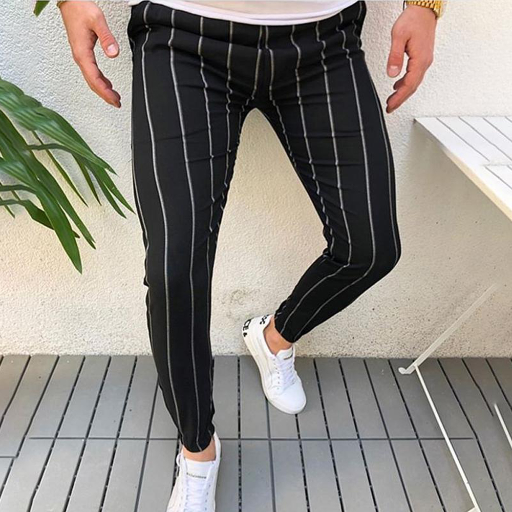 2019 Men Dress Pants Men's Skinny Casual Trousers Slim Fit Business Pants High Quality Formal Striper Pants Slacks Trousers