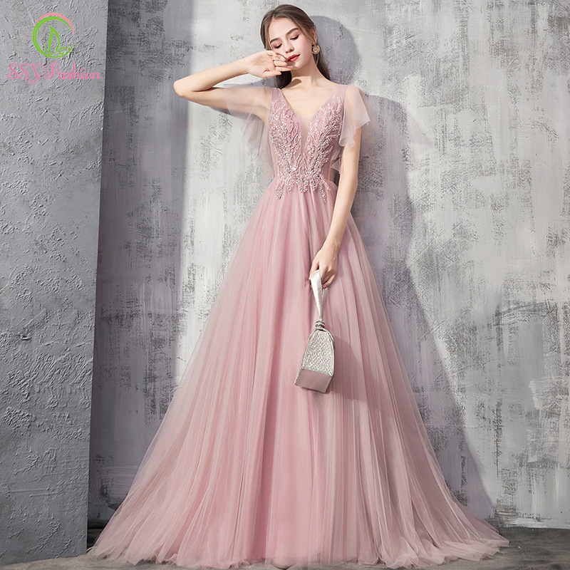 SSYFashion New Sweet Pink Evening Dress Banquet Elegant V-neck Lace Appliques Long Prom Formal Party Gown Vestidos De Noche