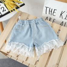Lucashy 2021 New Net yarn Kids Jeans Summer Baby Girls Denim Shorts Lace Design Sweet Princess Children Short Jeans Clothings