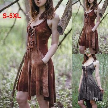 5XL Large Size Medieval Vintage Dress Slim Printed Costume For Adult Women Bust Lace Up Irregular Hem Sexy Sling Midi Dress цена 2017