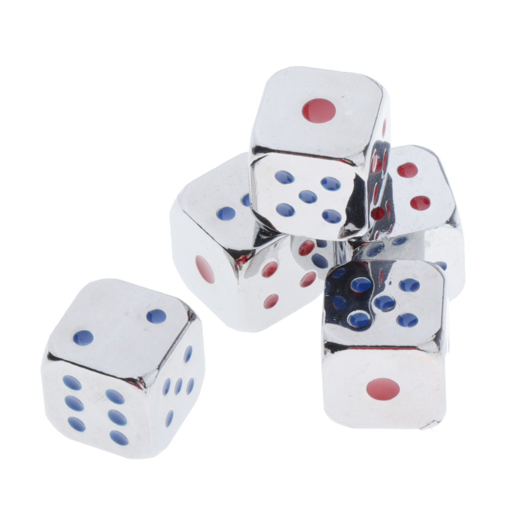 5pcs 6 Sided 12mm D6 Dice Die Metal with Cup Golden/Silver w/ Blue&Red Pips