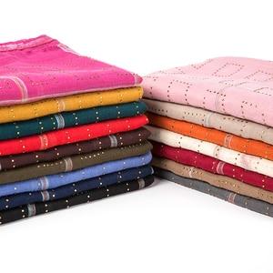 Image 4 - 1 pc novo diamante lenço de algodão macio hijab cachecol xale brilhante envoltório viscose muçulmano feminino lenço islâmico hijab xales e envoltório