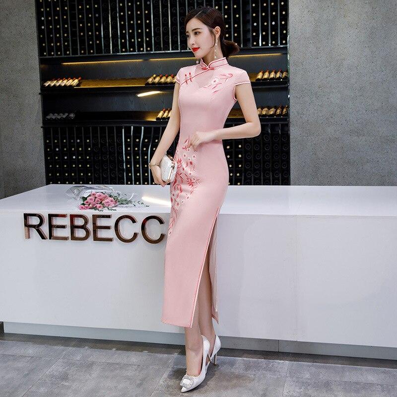Elegant Retro Dressing Gown Women Chinese Tradition Dress Qipao Printing Cheongsam Plus Size  S-4XL